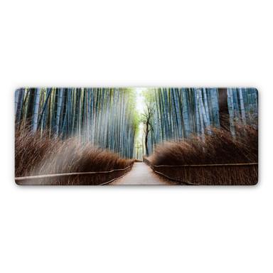 Glasbild Colombo - Die Bambushöhle in Japan - Panorama