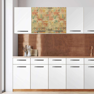 Klebefolie - Wandschrank 80cm Breite - 3D Retro Pattern
