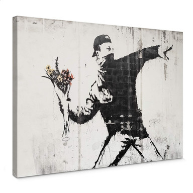 Leinwandbild Banksy - Der Blumenwerfer