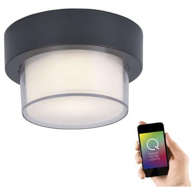 Q-Smart LED Aussenwand- und Deckenleuchte Q-Erik in Anthrazit rund RGBW inkl. Fernbedienung