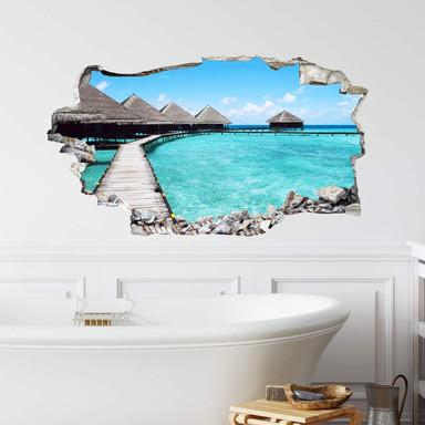 3D Wandtattoo Strandhaus Malediven