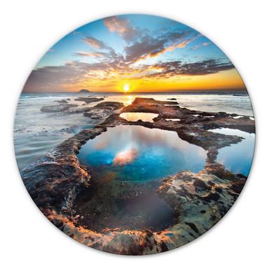 Glasbild Maori Bay - rund