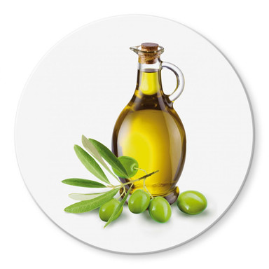 Glasbild Olives and a Bottle - rund