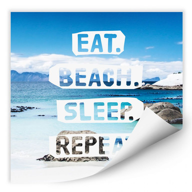 Wallprint Eat. Beach. Sleep. Repeat. - quadratisch