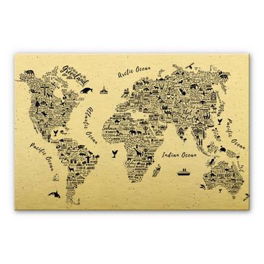 Alu-Dibond-Goldeffekt Weltkarte - Around the World