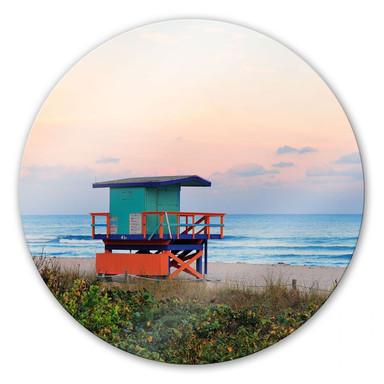 Glasbild Miami Rettungsschwimmerhäuschen - rund