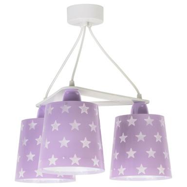 Kinderzimmer Pendelleuchte Stars in Lila fluoreszierend 3xE27