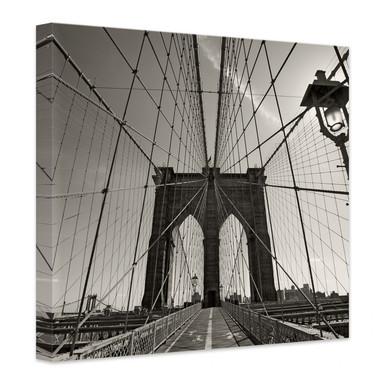 Leinwandbild Brooklyn Bridge Perspektive - quadratisch