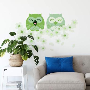 Wandsticker Kirsch-Eulen grün