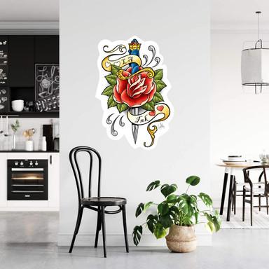 Wandsticker LA Ink Dolch mit Rose