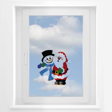 Fensterbild Schnee- und Weihnachtsmann