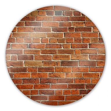 Glasbild Ziegelsteinmauer - rund