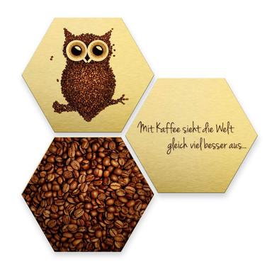 Hexagon - Alu-Dibond-Goldeffekt - Kaffeeeule (3er Set)