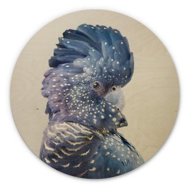 Holzbild Sisi & Seb - Blaue Kakadu - Rund
