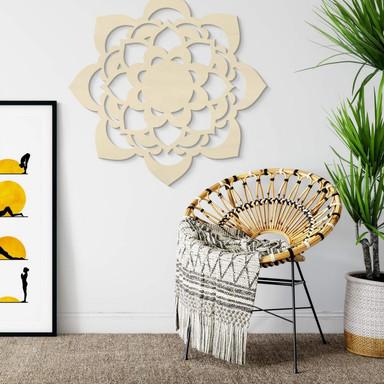 Holzdeko Pappel - Mandala Lotus
