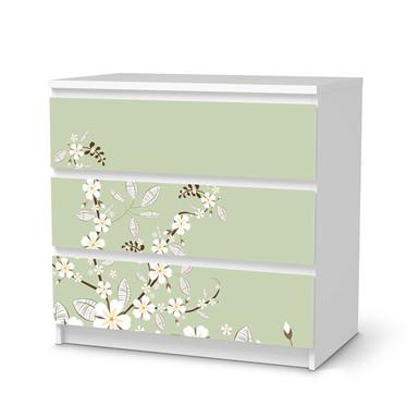 Klebefolie IKEA Malm Kommode 3 Schubladen - White Blossoms