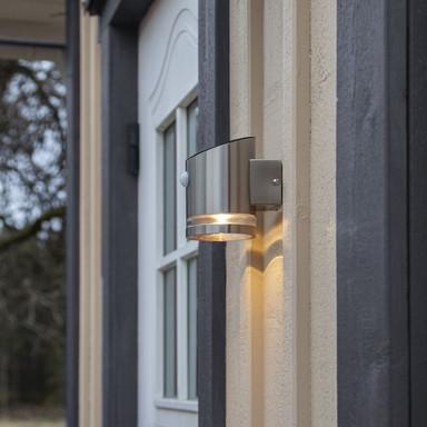 LED Solar Wandleuchte Venicini in Silber IP44