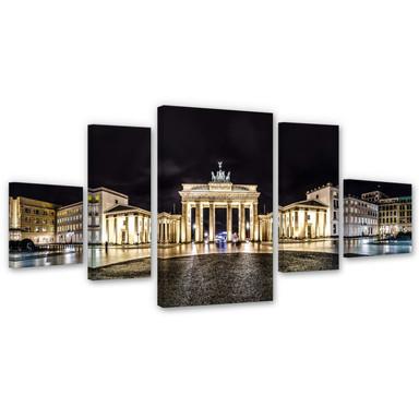 Leinwandbild Brandenburger Tor Panorama (5-teilig) - Bild 1
