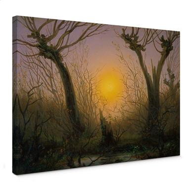 Leinwandbild Friedrich - Waldlandschaft bei tiefstehender Sonne