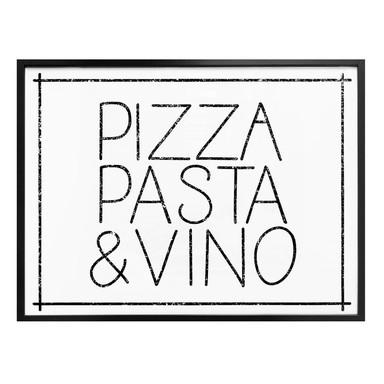 Poster Pizza Pasta & Vino weiss
