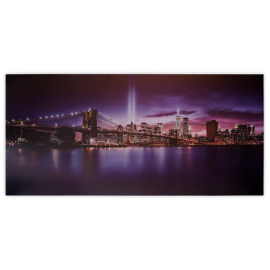 LED Leinwandbild New York bei Nacht - 55x115cm - Bild 1