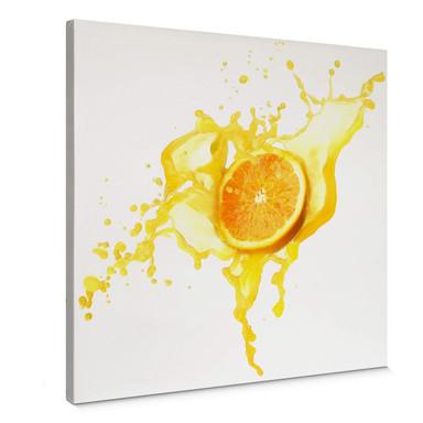 Leinwandbild Splashing Oranges - quadratisch