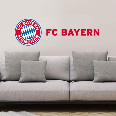 Wandsticker FC Bayern München Logo mit Schriftzug
