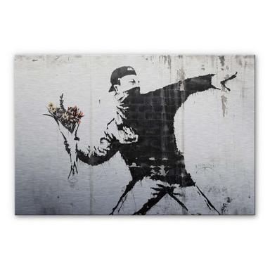 Alu-Dibond-Silbereffekt Banksy - Der Blumenwerfer