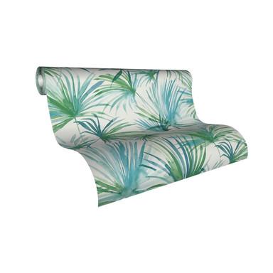Livingwalls Vliestapete Colibri Tapete mit Palmenprint in Dschungel Optik blau, grün, weiss
