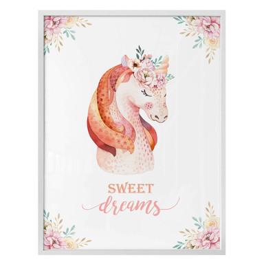 Poster Kvilis - Sweet Dreams - Einhorn mit Blumenkranz