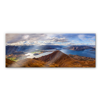 Acrylglasbild Yan - Aussicht vom Roys Peak - Panorama