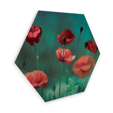 Hexagon - Holz Birke-Furnier Delgado - Mohn Aquamarin