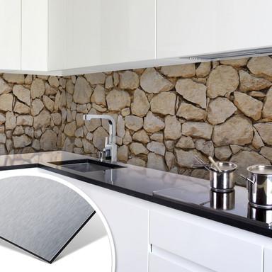 Küchenrückwand - Alu-Dibond-Silber - Mauer 01 - Bild 1