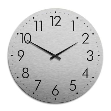 XXL Wanduhr Alu Dibond Silbereffekt - Modern mit Minutenanzeige Ø 70cm - Bild 1