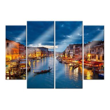 Acrylglasbild Beleuchtetes Venedig (4-teilig)