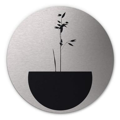 Alu-Dibond-Silbereffekt Kubistika - Abstracticum - Rund