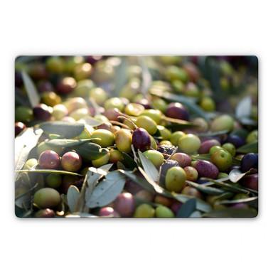 Glasbild Mediterrane Oliven