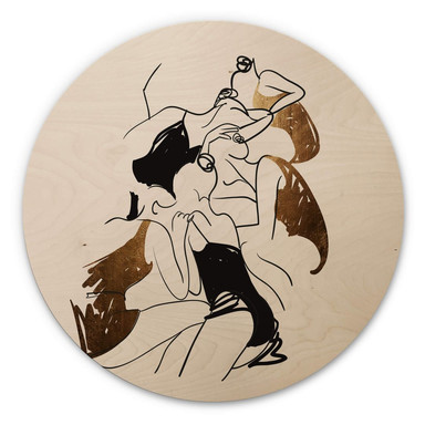 Holzbild Kubistika - Ballerinas - Rund