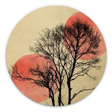 Holzbild Kubistika - Sonne und Mond hinter dem Baum - rund