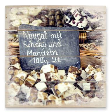 Holzbild Nougat mit Schokolade und Mandeln
