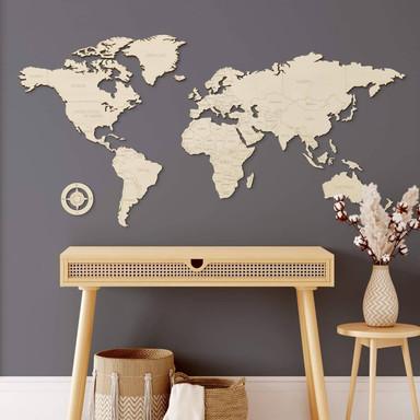 Holzdeko Pappel - Weltkarte mit Ländernamen