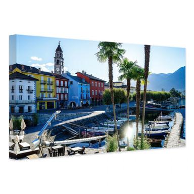 Leinwandbild Hafen am Lago Maggiore
