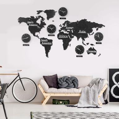 3D Holz Weltkarte mit 5 Uhren Schwarz - 180x110cm - Bild 1