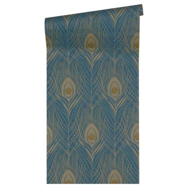 Architects Paper Vliestapete Absolutely Chic Tapete mit Pfauen Feder blau, gelb, metallic