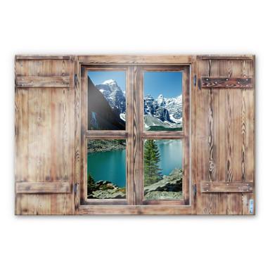 Glasbild 3D Holzfenster - Bergsee Idylle