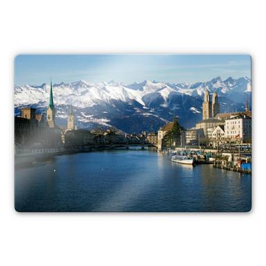 Glasbild Zürichsee mit Alpen