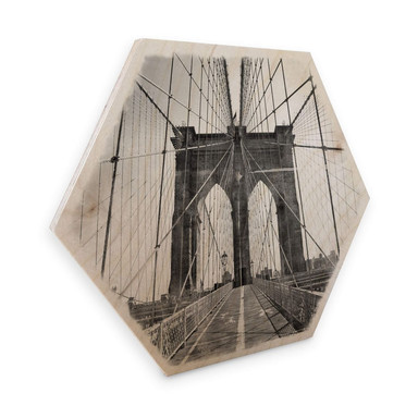 Hexagon - Holz Birke-Furnier - Brooklyn Bridge Perspektive - Shabby