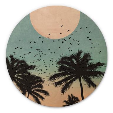 Holzbild Kubistika - Sonnenuntergang - Rund