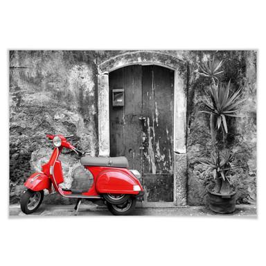 Poster Red Scooter schwarz-weiss