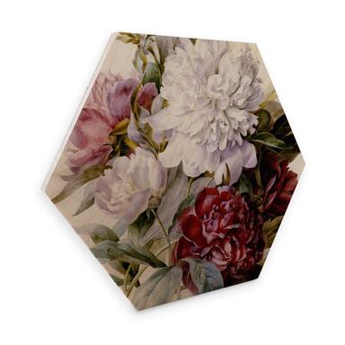 Hexagon - Holz Redouté - Strauss von roten, lila und weissen Pfingstrosen